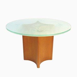 Mesa de centro iluminada redonda de vidrio escarchado y patas de teca, años 50