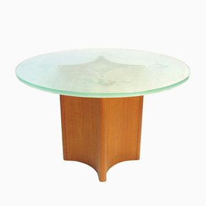 Round Frosted Glass Iluminated Coffee Table with Teak Foot, 1950s