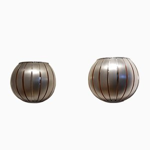 Vintage French Half Sphere Aluminium Wall Sconces, 1970s, Set of 2