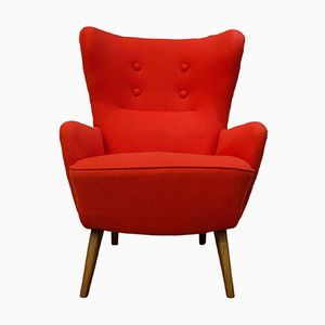 Fauteuil Wing-Back Rouge, Danemark, 1970s