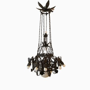 Large Vintage Gothic Revival Wrought Iron Chandelier
