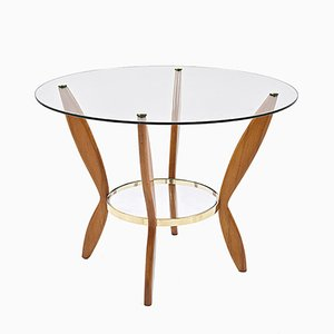 Italian Beech, Brass & Glass Coffee Table, 1950s