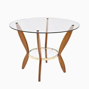 Table Basse en Hêtre, Laiton & Verre, Italie, 1950s