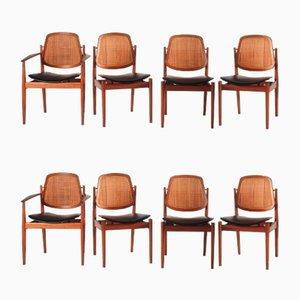 Dänische Mid-Century Esszimmerstühle von Arne Vodder für Sibast, 1960er, Set of 8