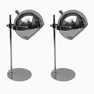 Lámparas de mesa pequeñas cromadas, años 70. Juego de 2