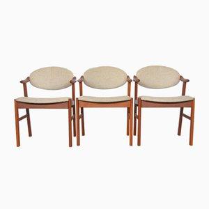 Sedie di Kai Kristiansen per Schou Andersen, Danimarca, anni '60, set di 3