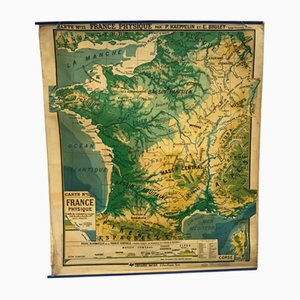 Vintage French Geographical Wall Chart from P. Kaeppelin & E. Bruley