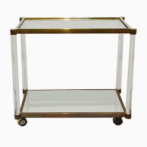 French Brass and Lucite Bar Trolley, 1970s
