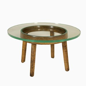 Vintage Coffee Table in Decorative Wood & Glass