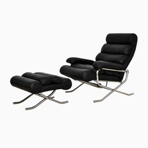 Reclining Leather Lounge Chair with Ottoman, 1970s