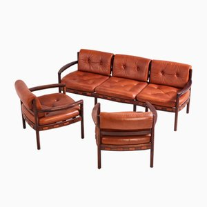 Leather Sofa Set by Arne Norell for Coja, 1960s