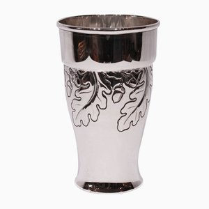 Vintage Silver Vase with Acorn Leaf and Nut Motifs