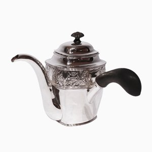 Vintage Patterned Chocolate Pot in Hallmarked Silver with Ebony Handle
