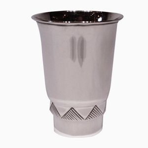 Vintage Vase with Triangular Motif in Hallmarked Silver