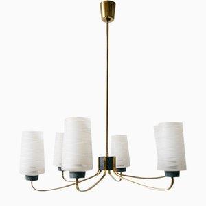 Brass & Glass Chandelier, 1950s