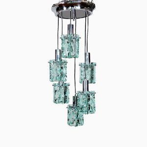 Italian Chrome and Crystal Glass Cascade Pendant, 1960s