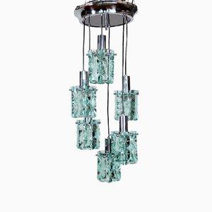 Lámpara colgante italiana en cascada de cristal y cromado de Fontana Arte, años 60