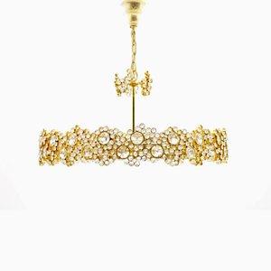 Lámpara de araña dorada grande de cristal y latón de Ernst Palme para Palwa, años 60
