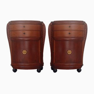 Kleine Art Deco Birke Kommoden, 2er Set