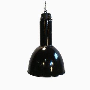 Lámpara colgante Bauhaus industrial esmaltada, años 30