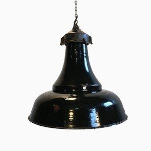 Industrial Black Enamel Bauhaus Pendant Lamp, 1920s