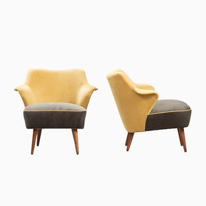 Fauteuils Vintage en Velours, Set de 2
