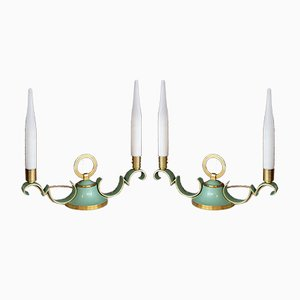 Brass & Lime Green Table Lamps with Opaline Shades, 1940s, Set of 2