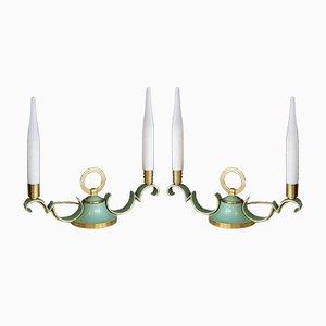 Messing & lindgrüne Tischlampen mit Opalglas Schirmen, 1940er, 2er Set