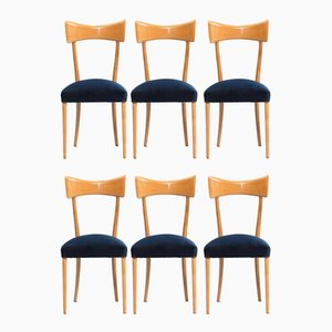 Vintage Italian Beech Dining Chairs, Set of 6