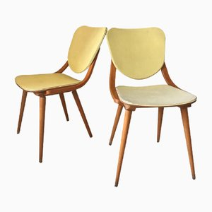 Vintage Curved Wood Chairs, 1950s, Set of 2