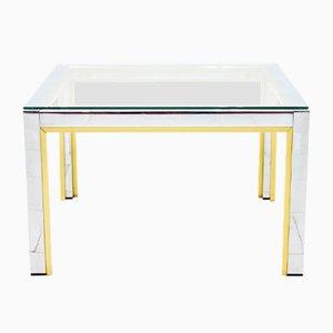 Mesa auxiliar de vidrio, latón y metal cromado de Renato Zevi para Romeo Rega, años 70