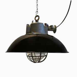 Lampe à Suspension Cage Industrielle en Email Noir & Fonte, 1950s