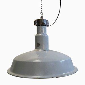 Lámpara de fábrica industrial Mid-Century esmaltada en gris