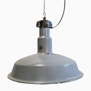 Mid-Century Industrial Grey Enameled Factory Lamp