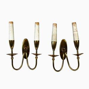 Venetian Brass Wall Lights, 1930s, Set of 2