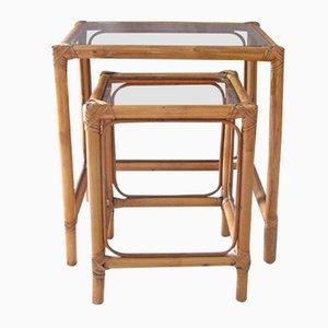 Tables Gigognes Vintage en Bambou & Verre, France, 1960s, Set de 2