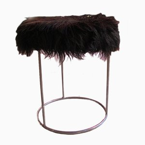 Black Faux Fur Pouf, 1970s