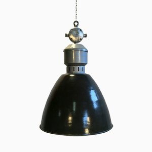 Vintage Industrial Dark Grey Enamel Pendant Lamp from Elektrosvit
