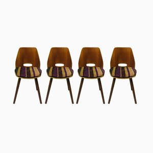 Vintage Italian Walnut Veneer Dining Chairs in the Style of Vittorio Nobili, 1950s, Set of 4