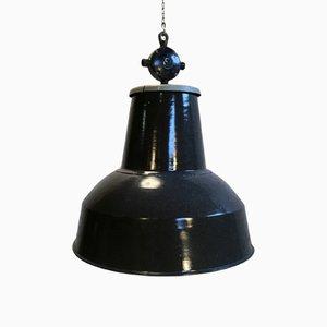 Grande Lampe à Suspension Industrielle Gris Foncé, 1950s