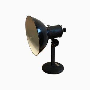 Lámpara de mesa checoslovaca industrial de metal negro, años 50