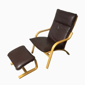 Vintage Danish Lounge Chair and Footstool from Stouby, 1970s