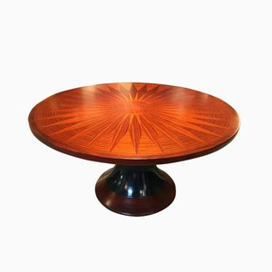 Round Dining Table with Wood Inlay, 1950s