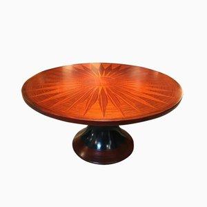 Tavolo da pranzo rotondo in legno intarsiato, anni '50