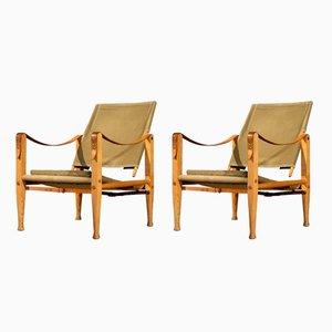 Mid-Century Safari Stühle von Kaare Klint für Rud. Rasmussen, 1960er, 2er Set