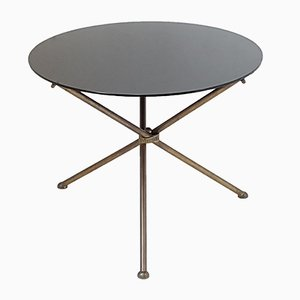 Table d'Appoint Tripode en Laiton Noir, France, 1950s