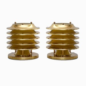 Lámparas de mesa finlandesas de cobre de Kari Ruokonen para Orno, años 70. Juego de 2