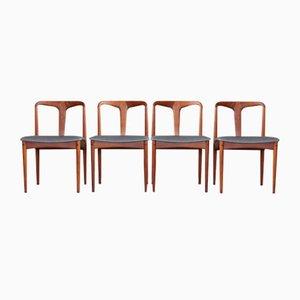 Teak & Leather Dining Chairs by Johannes Andersen for Uldum Møbelfabrik, 1960s, Set of 4