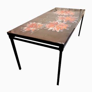 Tiled Black Table with Orange Flowers from Adri, 1970s
