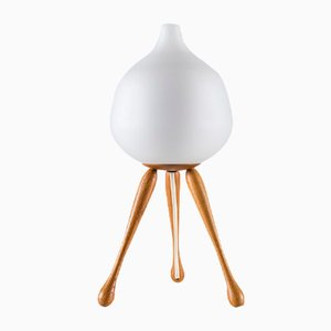 Mid-Century Oak & Opaline Glass Table Lamp by Uno & Östen Kristiansson for Luxus
